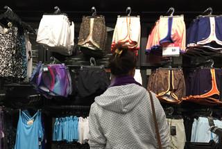 Participant looking at shorts wall