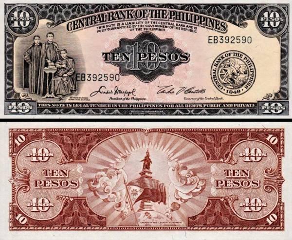 10 Pesos Filipíny 1949, P136e