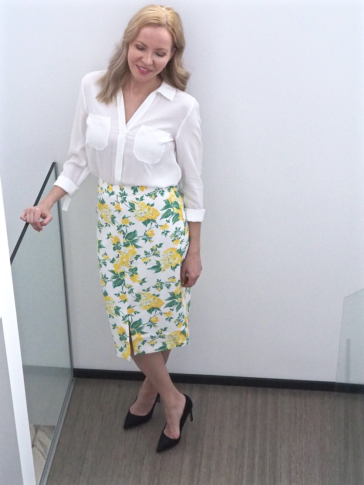 Summer Blossom Pencil Skirt by Oasis Finland