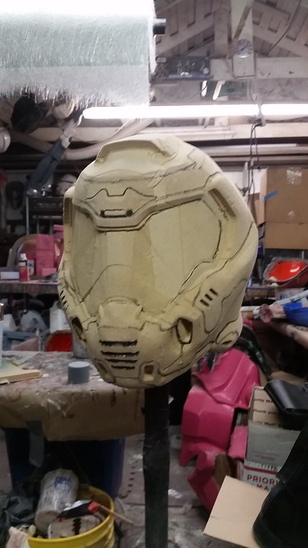Doom Helmet Assembled with Seams Marked