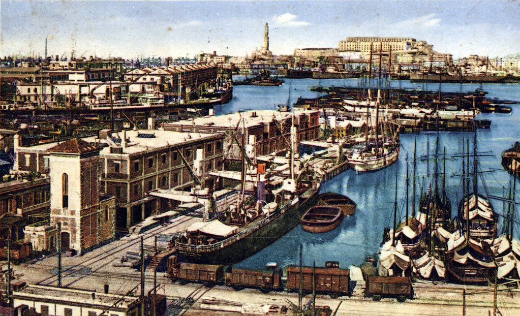 Carte postale du port de Gènes début 1900.