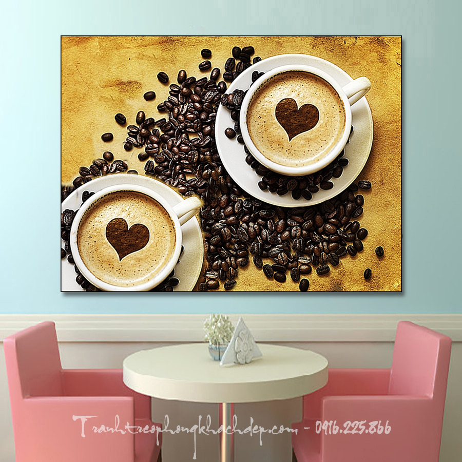 Goc nho quan cafe voi buc tranh canvas capuchino