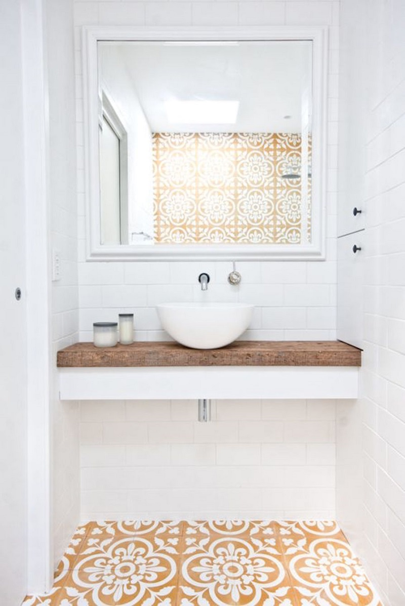 The 15 Best Tiled Bathrooms on Pinterest Small Bathroom Decor Yellow White Moroccan Tile Floor Wall