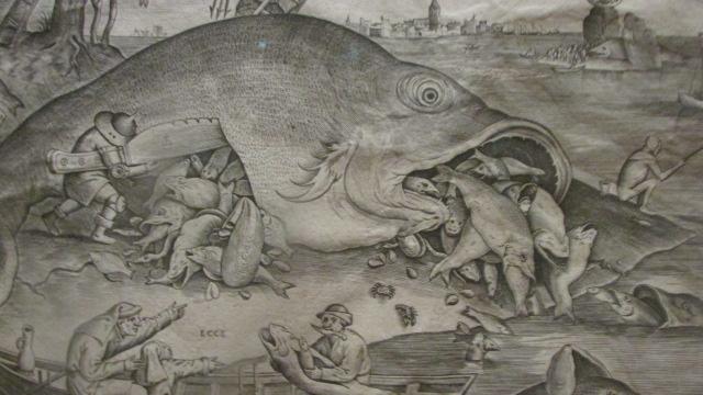 ピーテル・ブリューゲル(父)《大きな魚は小さな魚を食う》(1557年、プランタン=モレトゥス博物館)