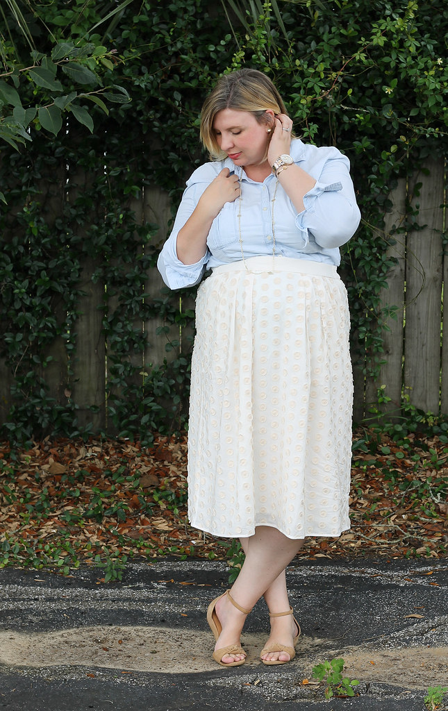 chambray shirt, cream dot midi and wedge sandals 5