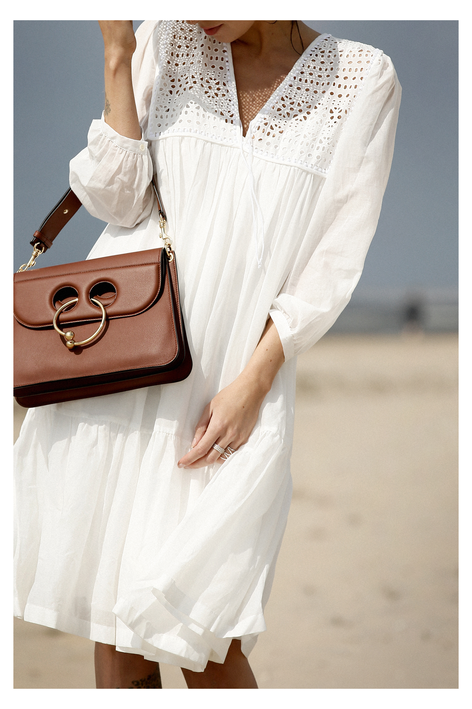 breuninger beach white dress closed j.w.anderson pierce bag straw hat summertime sunshine photography editorial vogue fashionblogger düsseldorf cats&dogs blog ricarda schernus modeblogger 6