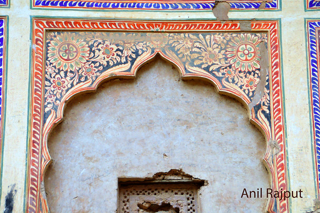 Fresco flower designs inner wall of a haveli in Churu