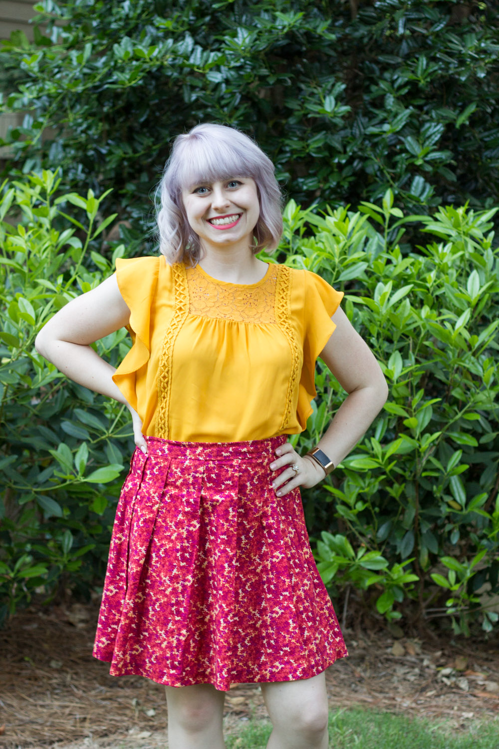 Silver Blonde Hair, Yellow Flutter Sleeve Top from Target, Handmade Floral Skirt
