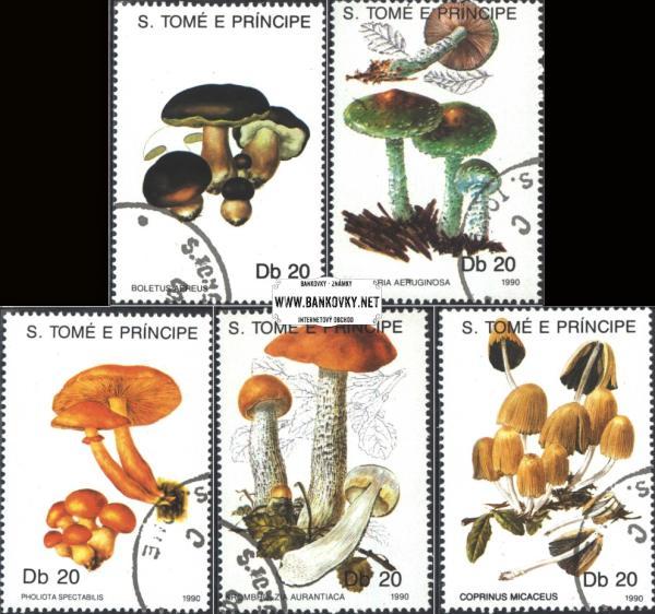 Známky Svätý Tomáš 1990 Huby, razítkovaná séria