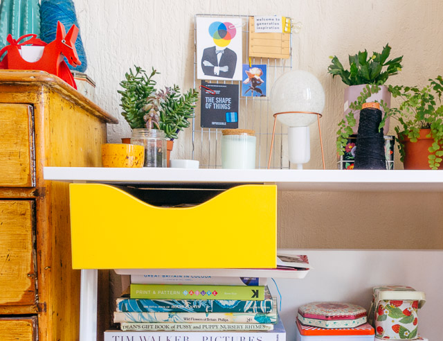desk and yellow drawer