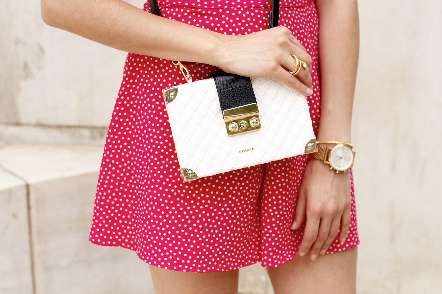 Polka dot jumpsuit uterqüe bag heels summer outfit09