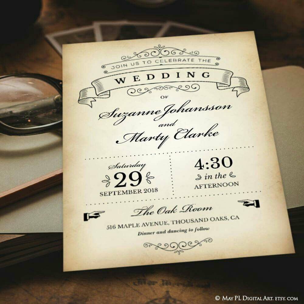 Wedding vintage invitation supplied as editable pdf templa… | Flickr