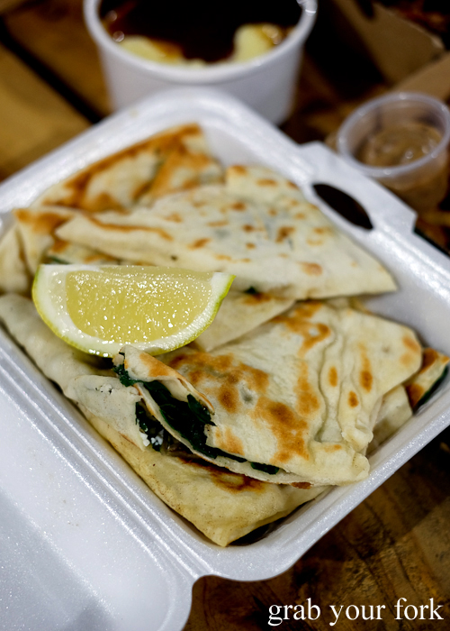 Cheese and spinach gozleme at Paddy's Night Food Markets