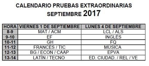 Calendario Prueba Extraordinaria Septiembre 2017