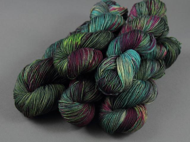 Favourite Sock – hand-dyed superwash merino 4 ply yarn 'Space Race'