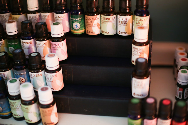 Really clever trick on creating a Essential Oil Shelf using old books
