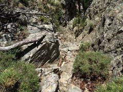 Parcours de l'arête Nord du CornuDellu : le couloir rocheux aménagé sous la pointe 1474