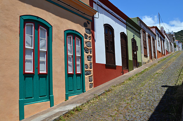 Pastel coloured, colonial street, Garafia, La Palma