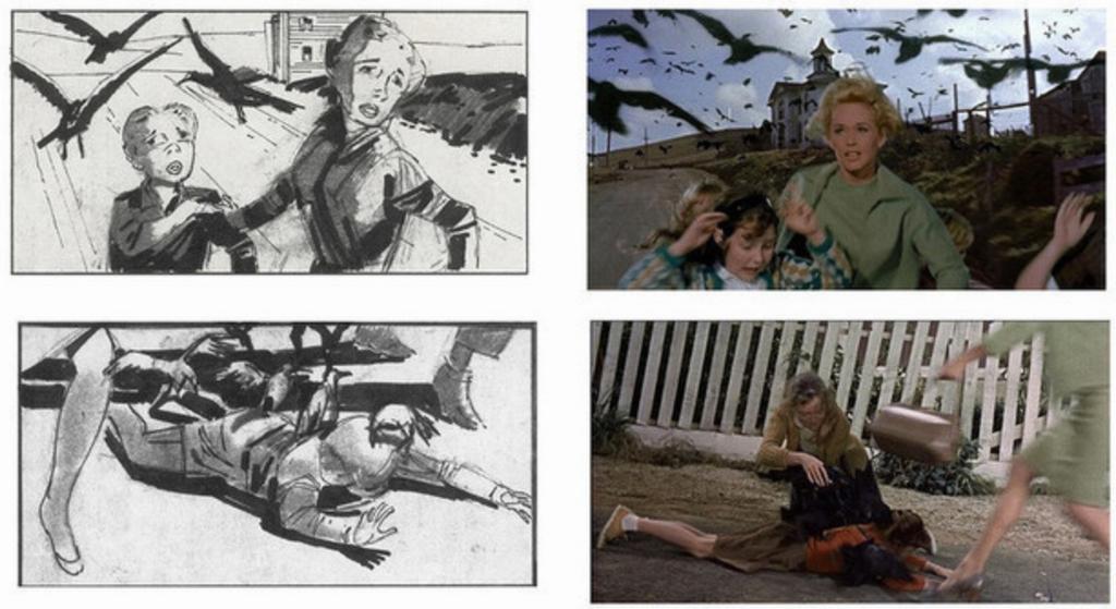 映画「鳥」の絵コンテと映像