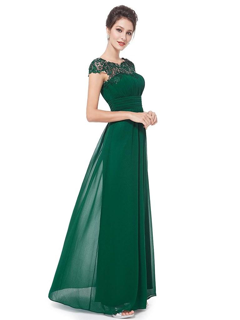 ... A-Line Bateau Cap Sleeves Open Back Dark Green Chiffon Bridesmaid Dress  with Lace  1db7eaf4c
