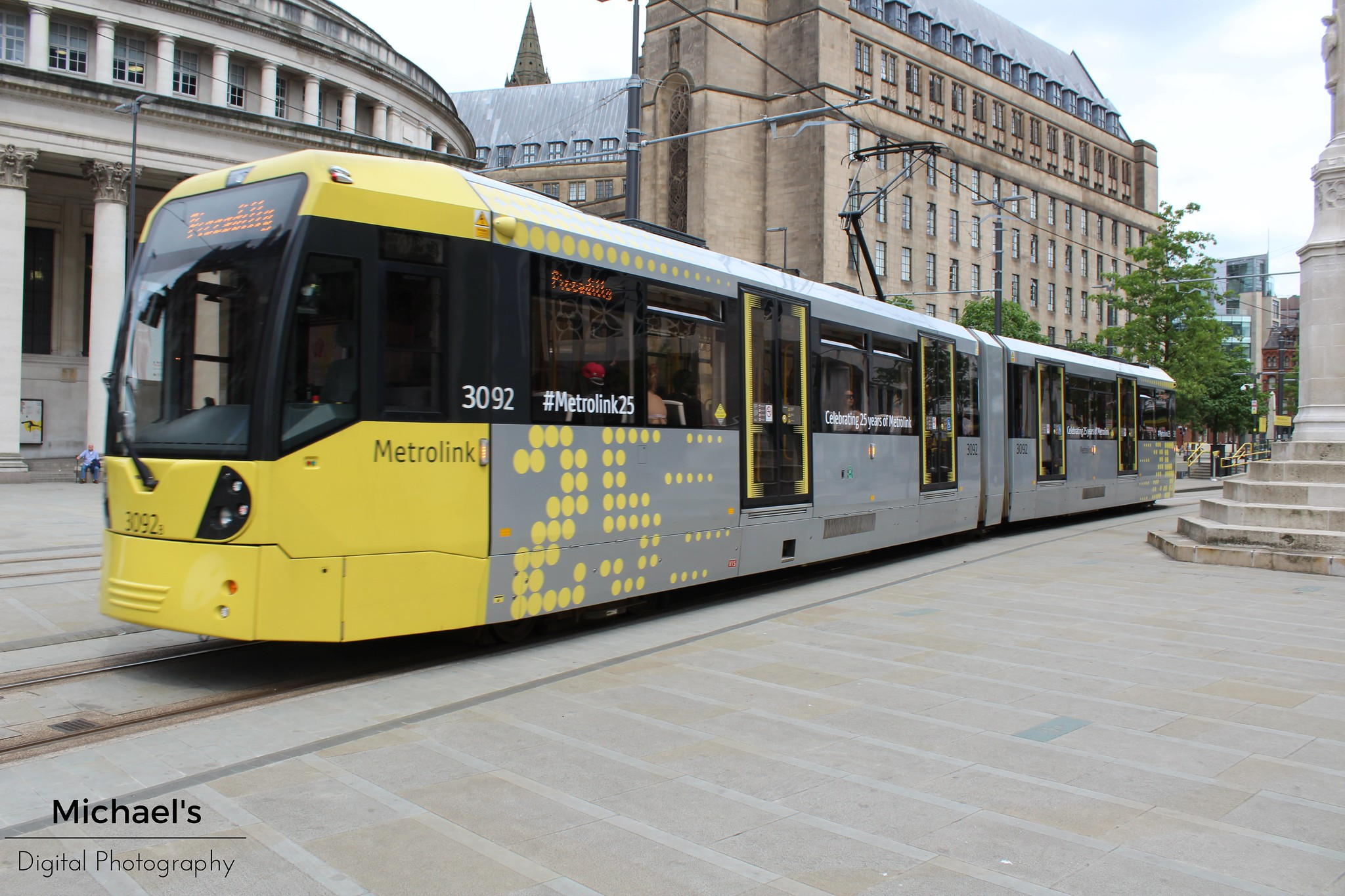 Metrolink tram with 25th anniversary livery