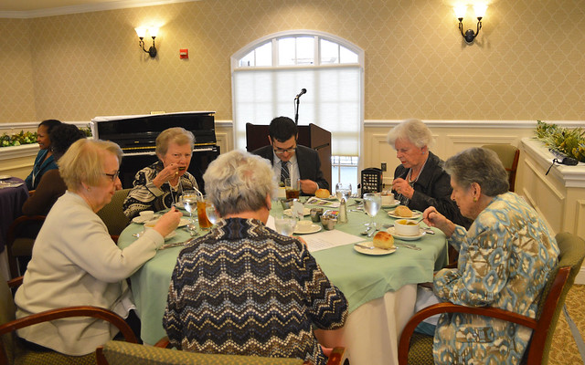 GenMtgMayLunch2017_0008; Speaker's table - Danuta Buzdygan (back to camera), Marcia Bossart, Janet Reiche, Speaker Gregory Geehern, Barbara Johnson, and Nancy Lifland.
