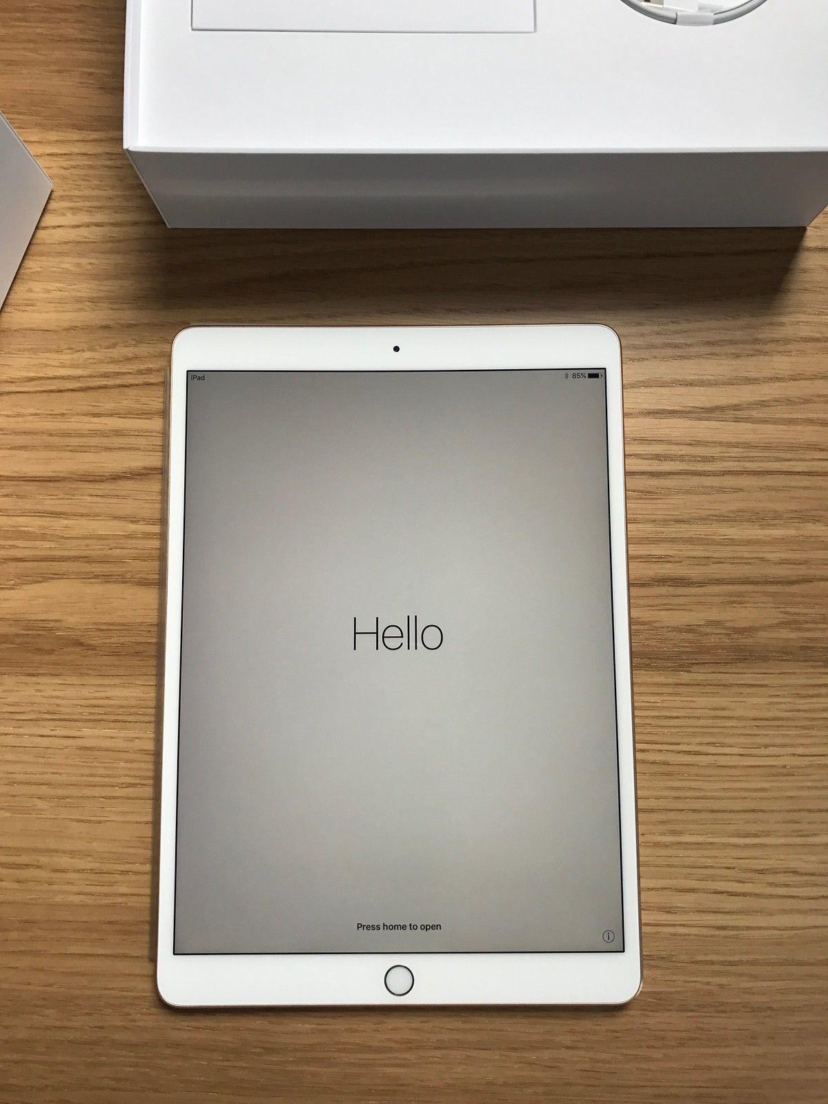 iPad Pro during initial setup, display the word Hello