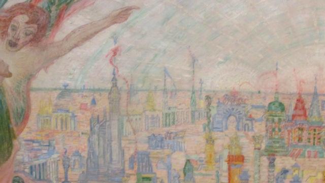 ジェームス・アンソ-ル《キリストの誘惑》(1913年、伊丹市立美術館)