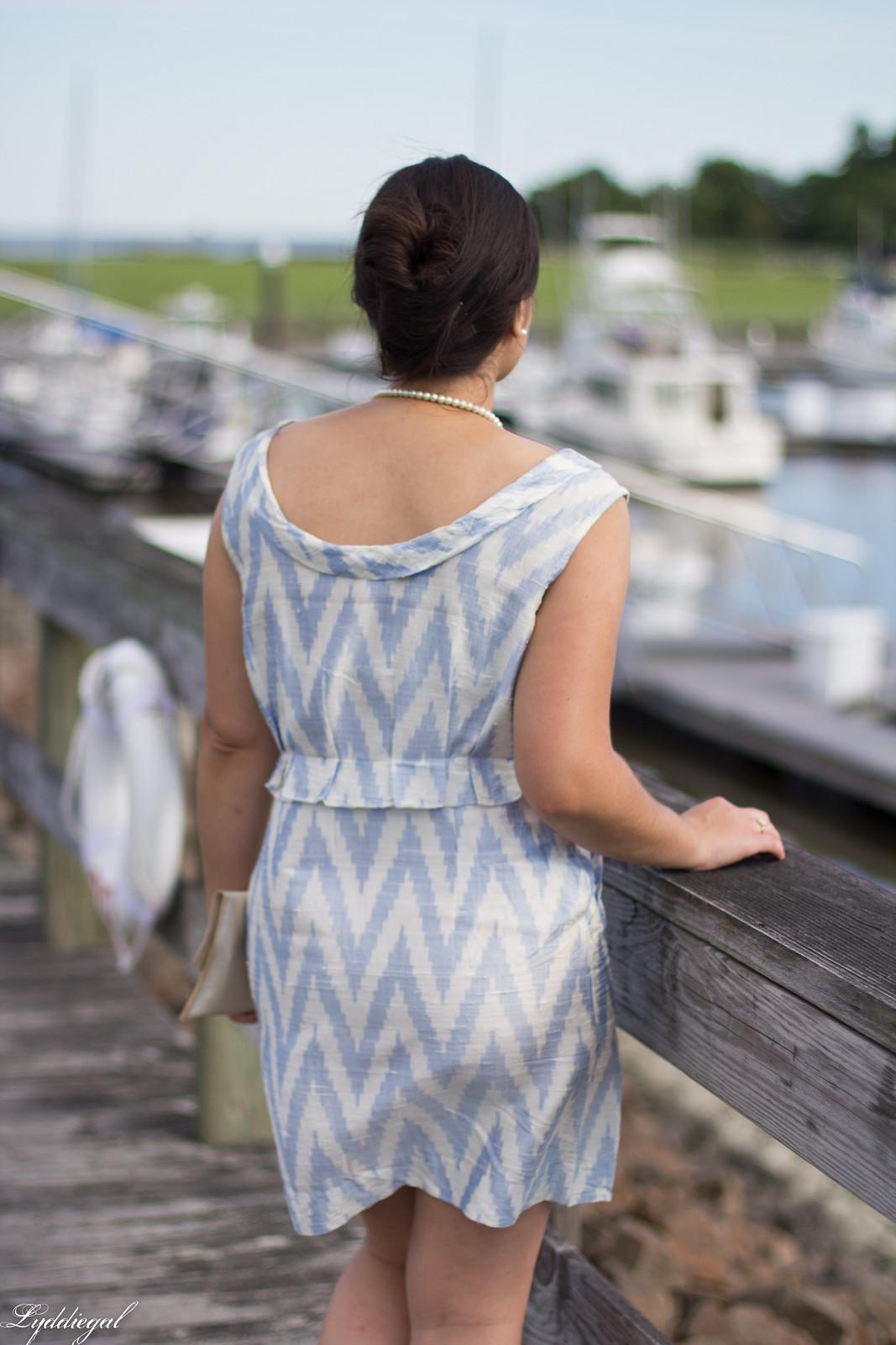 silk chevron striped dress, ferragamo slides, matine scalloped clutch-9.jpg