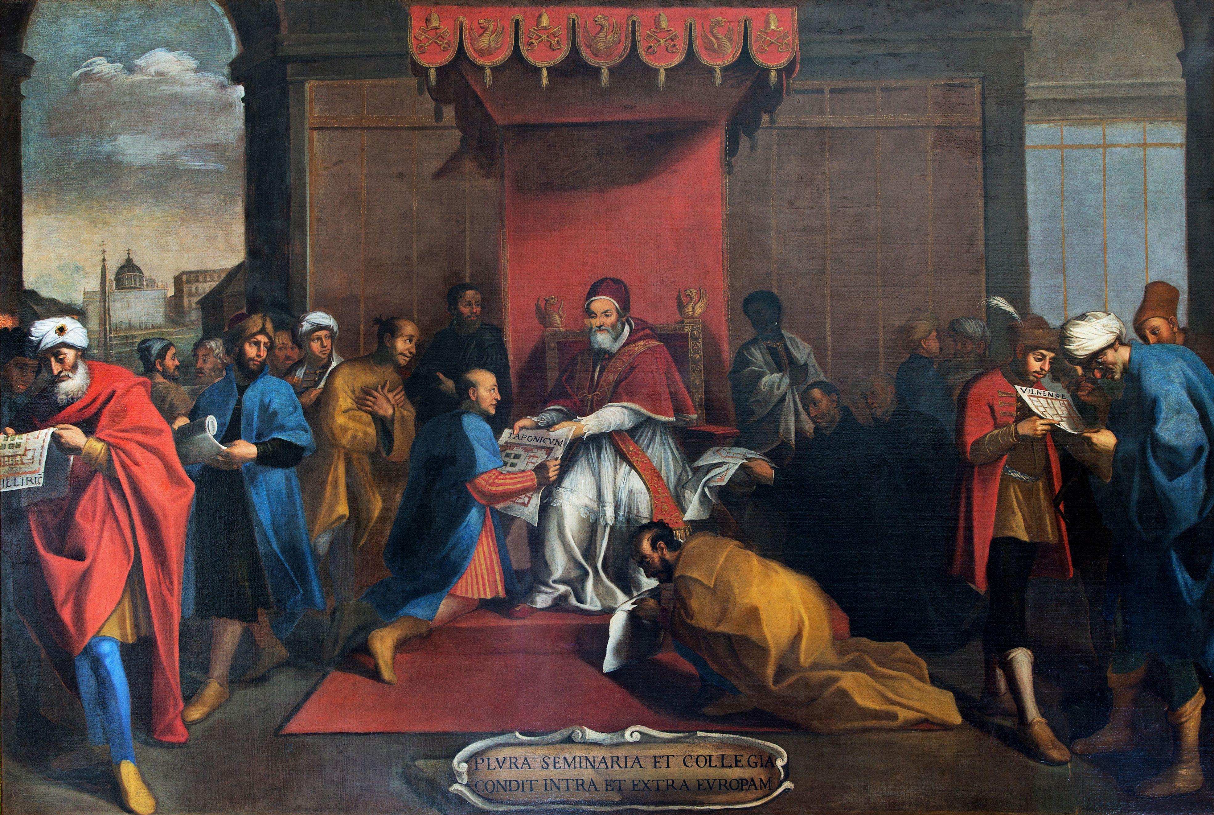 ローマの画家《ヨーロッパ内外にセミナリオを設立するグレゴリウス13世》(16-17世紀初頭、グレゴリアン大学)