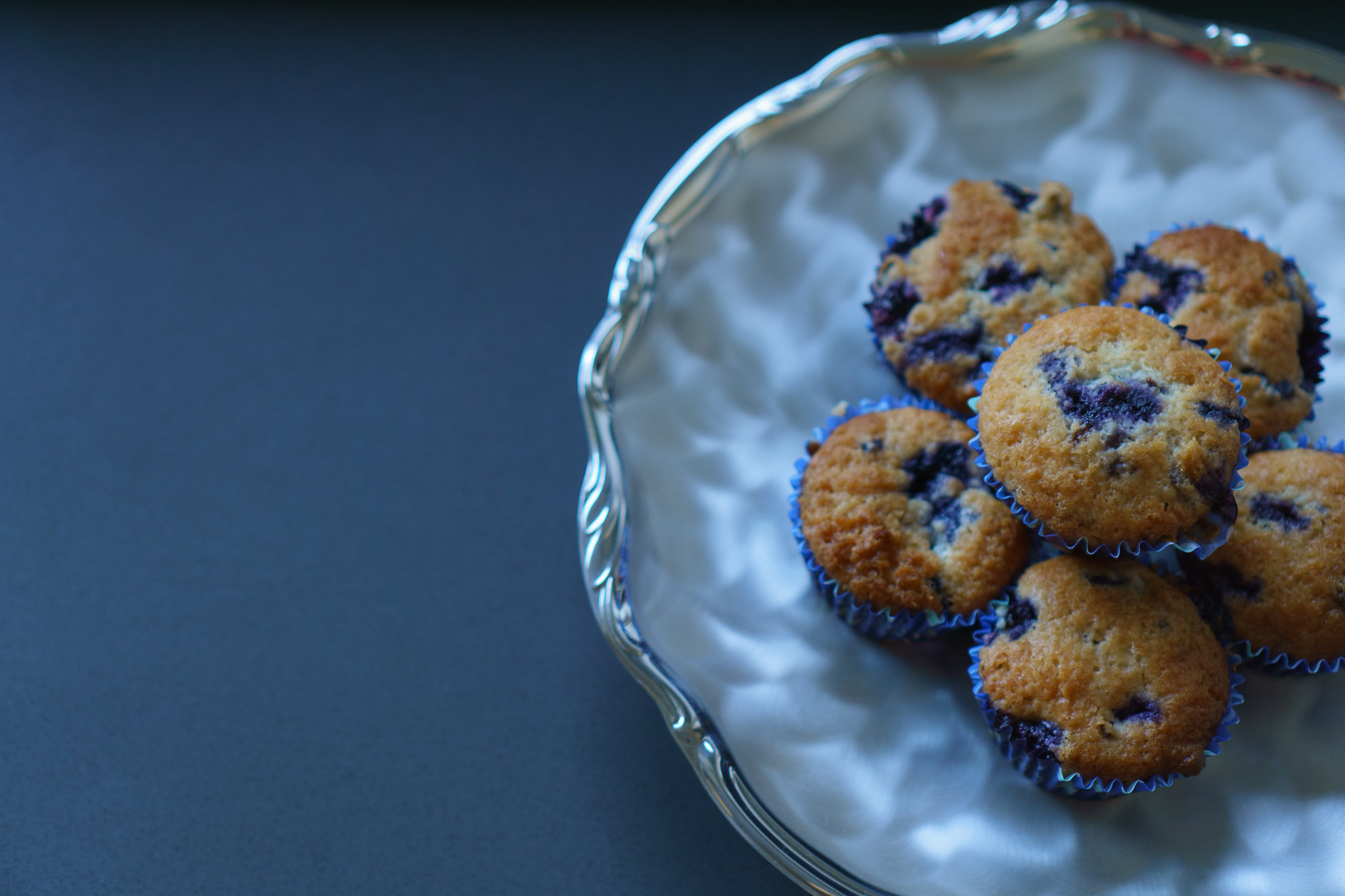 Blueberry Muffins on a Fancy Platter #2