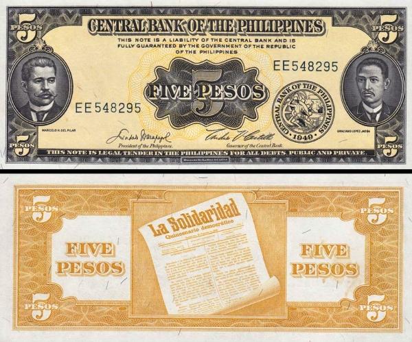 5 Pesos Filipíny 1949, P135e