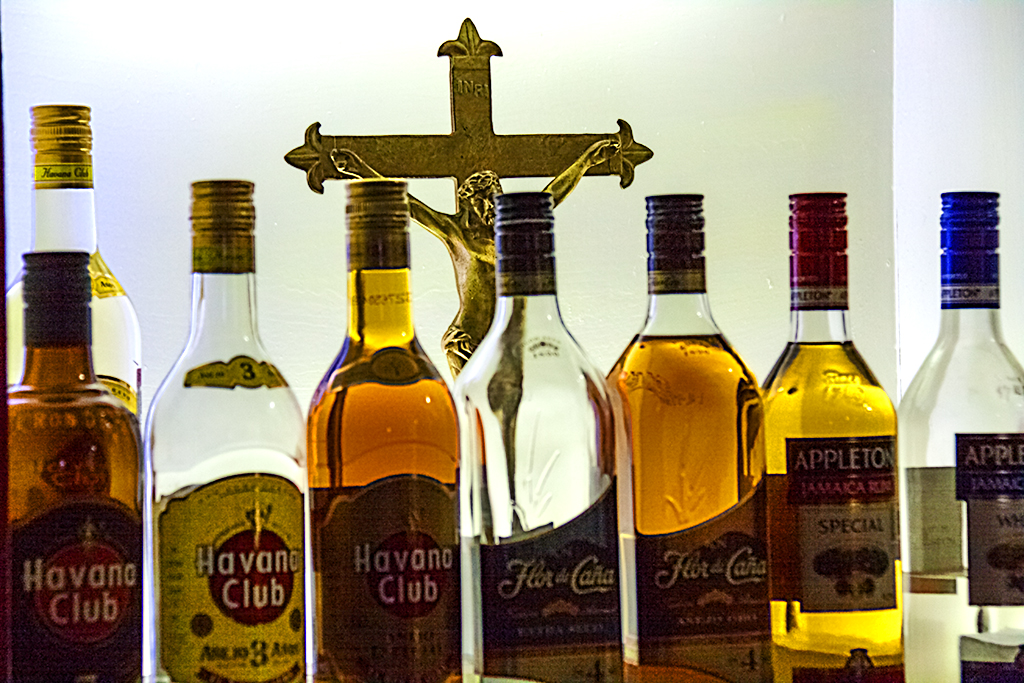 Liquor and crucifixion--Mexico City