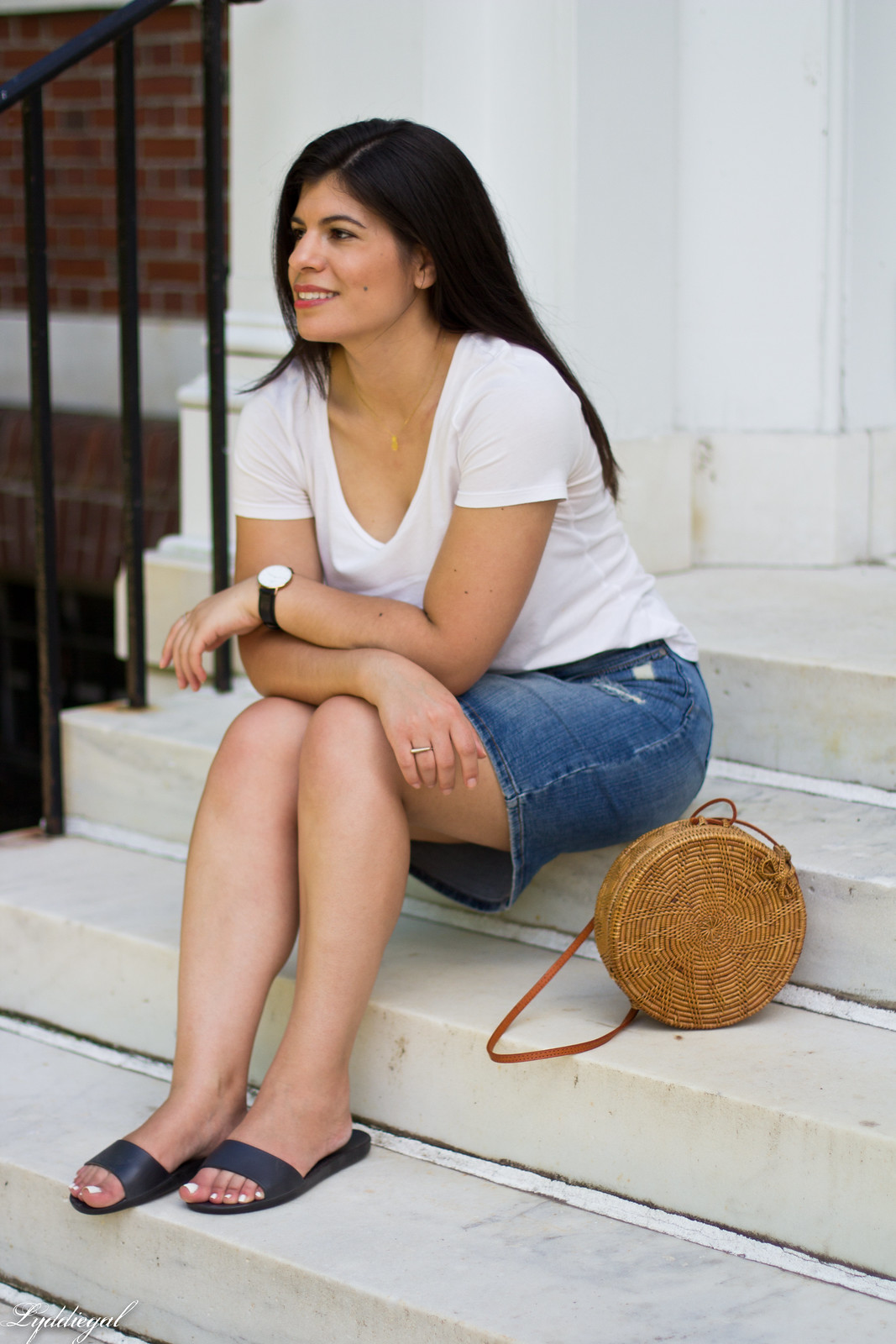 white tee, denim pencil skirt, soak slides, round straw bag-6.jpg