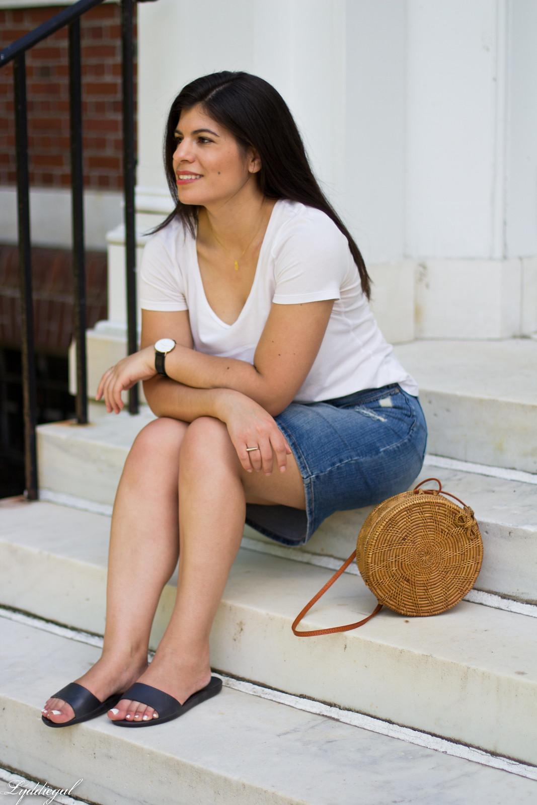 white tee, denim pencil skirt, soak slides, round straw bag-6.jpg