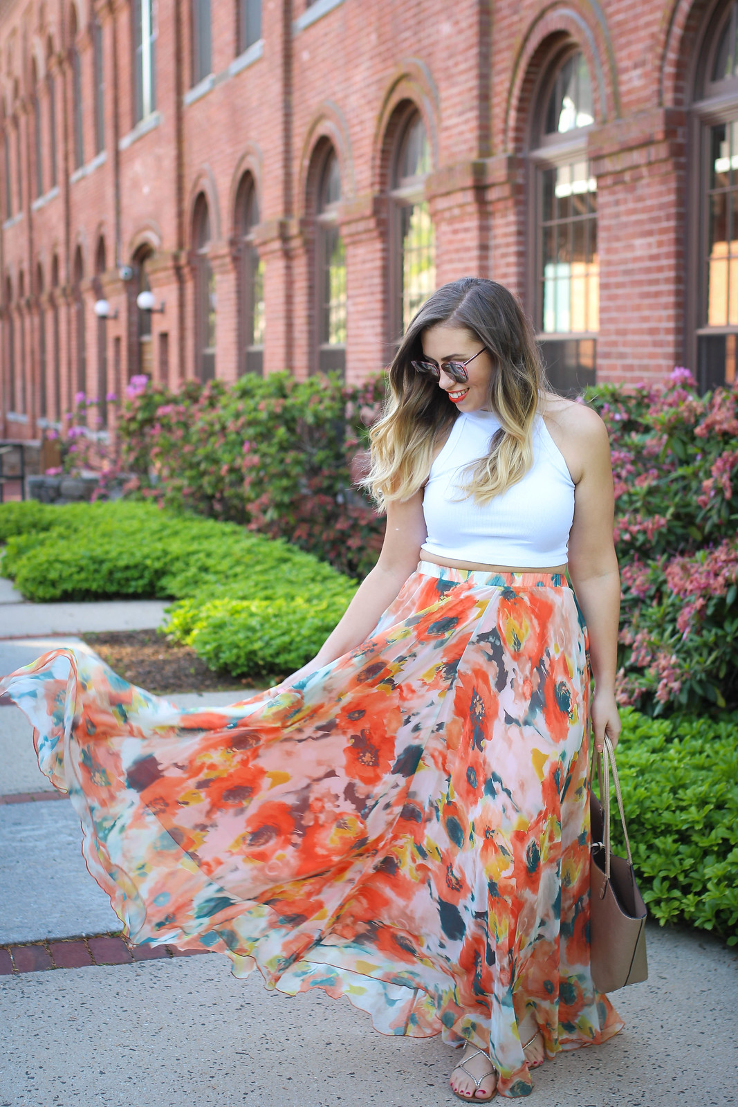 True Life: I'm Addicted to Maxi Skirts Chicwish Orange Blossom Watercolor Maxi Skirt Quay Supergirl Sunglasses Jackie Giardina Living After Midnite Fashion Style Blogger