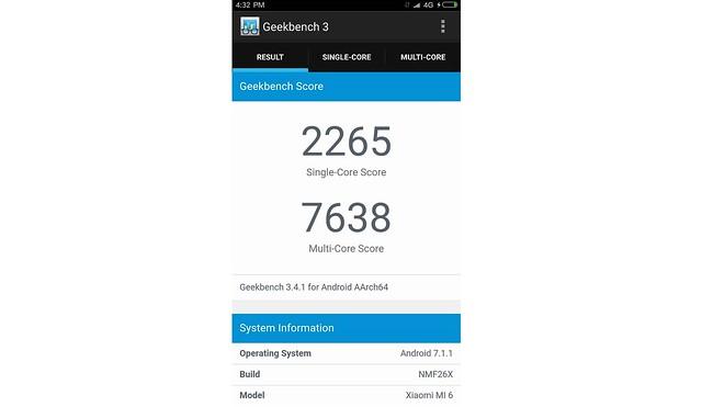 Pengujian Xiaomi Mi 6 menggunakan Geekbench