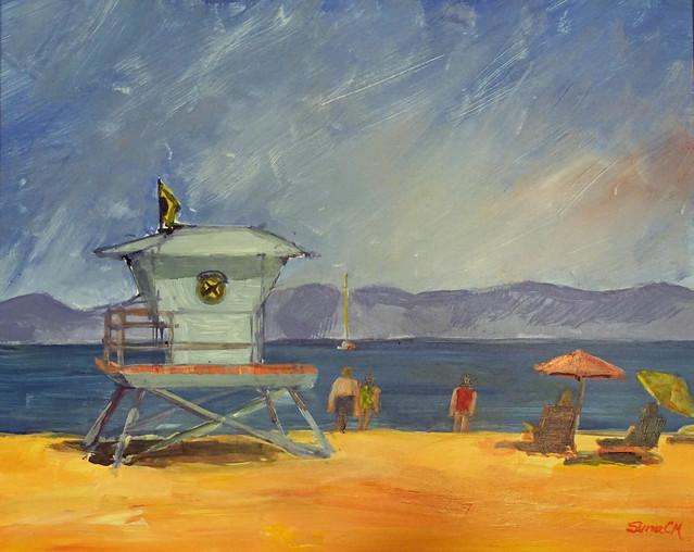 LGPA Santa Cruz beach acrylic
