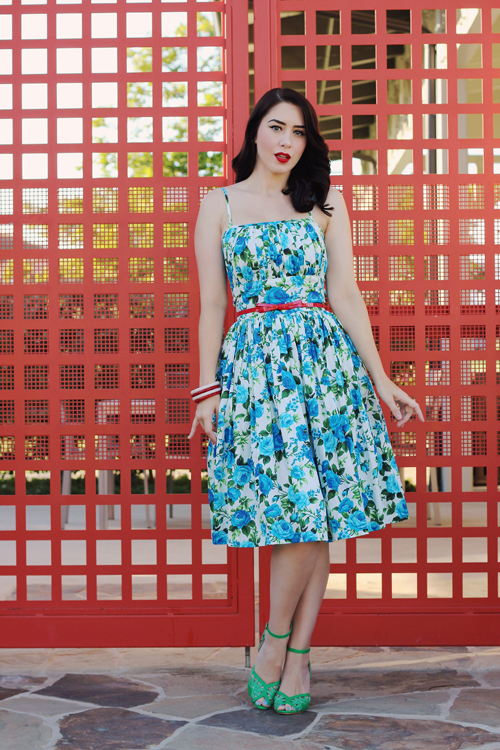 "Hearts and Found Grace Dress ""Rosewall"" in Large Blue Rose Print Southern California Belle"