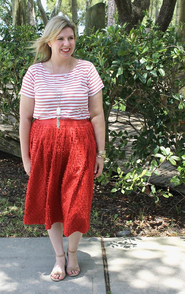 red midi skirt red stripe shirt 1