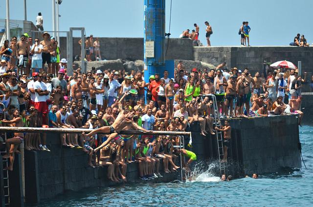 Man falling off greasy pole, Puerto de la Cruz, Tenerife