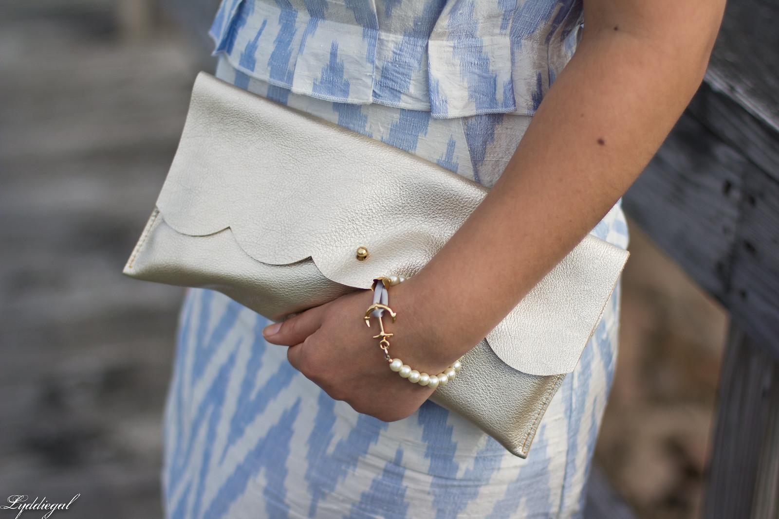 silk chevron striped dress, ferragamo slides, matine scalloped clutch-4.jpg
