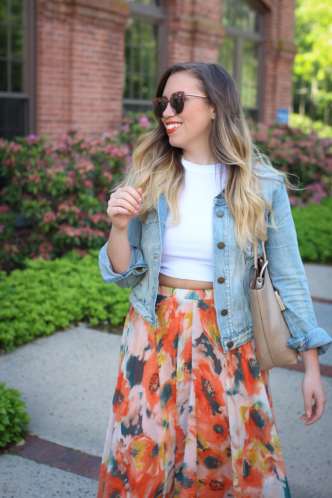 True Life: I'm Addicted to Maxi Skirts Chicwish Orange Blossom Watercolor Maxi Skirt Quay Supergirl Sunglasses elf cosmetics Lipstick Orange Dream Jackie Giardina Living After Midnite Fashion Style Blogger