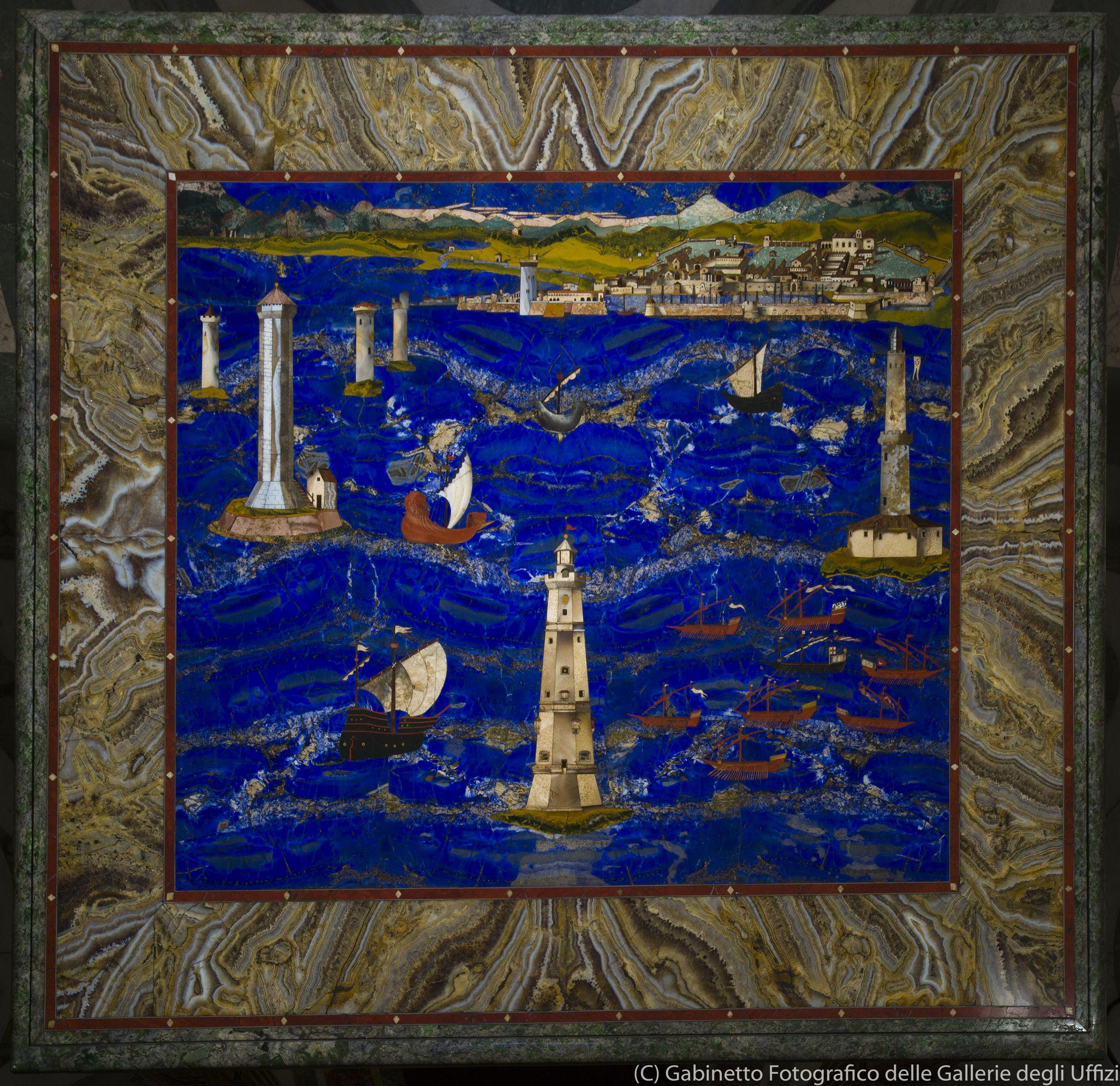 大公の工房、クリストーファノ・ガッフーリ(ヤコポ・リゴッツィの作品に基づく) 《リヴォルノ港の景観》(1601‐04年、ウフィツィ美術館)