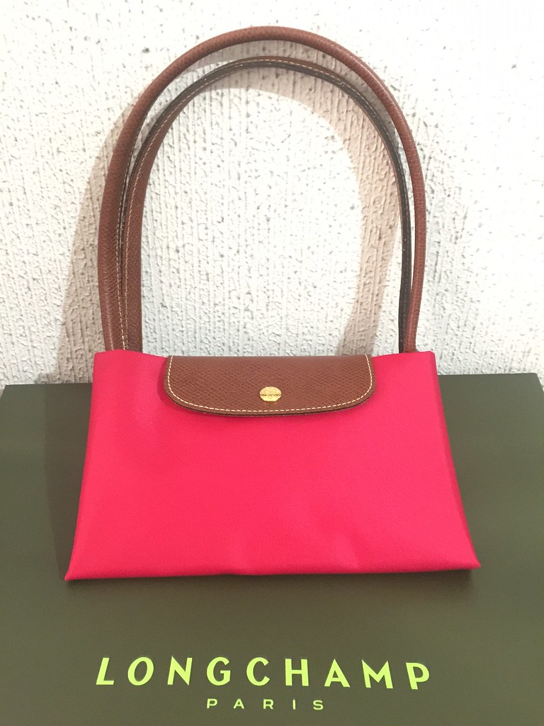 Longchamp Le Pliage Long Handle Red Garance