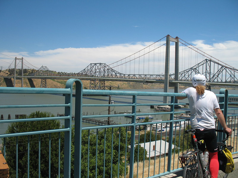 On the bike path to cross the Sacramento River on the Alfred Zampa Memorial Bridge