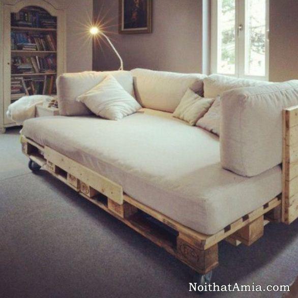 Hinh anh bo ghe sofa giuong handmade co banh xe di chuyen an tuong