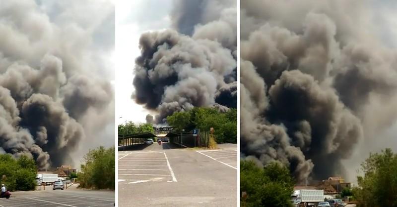 Incendio zona industriale di Battipaglia (SA) 11-06-2017