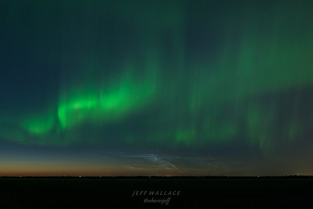 Aurora with Noctilucent Clouds, Alberta