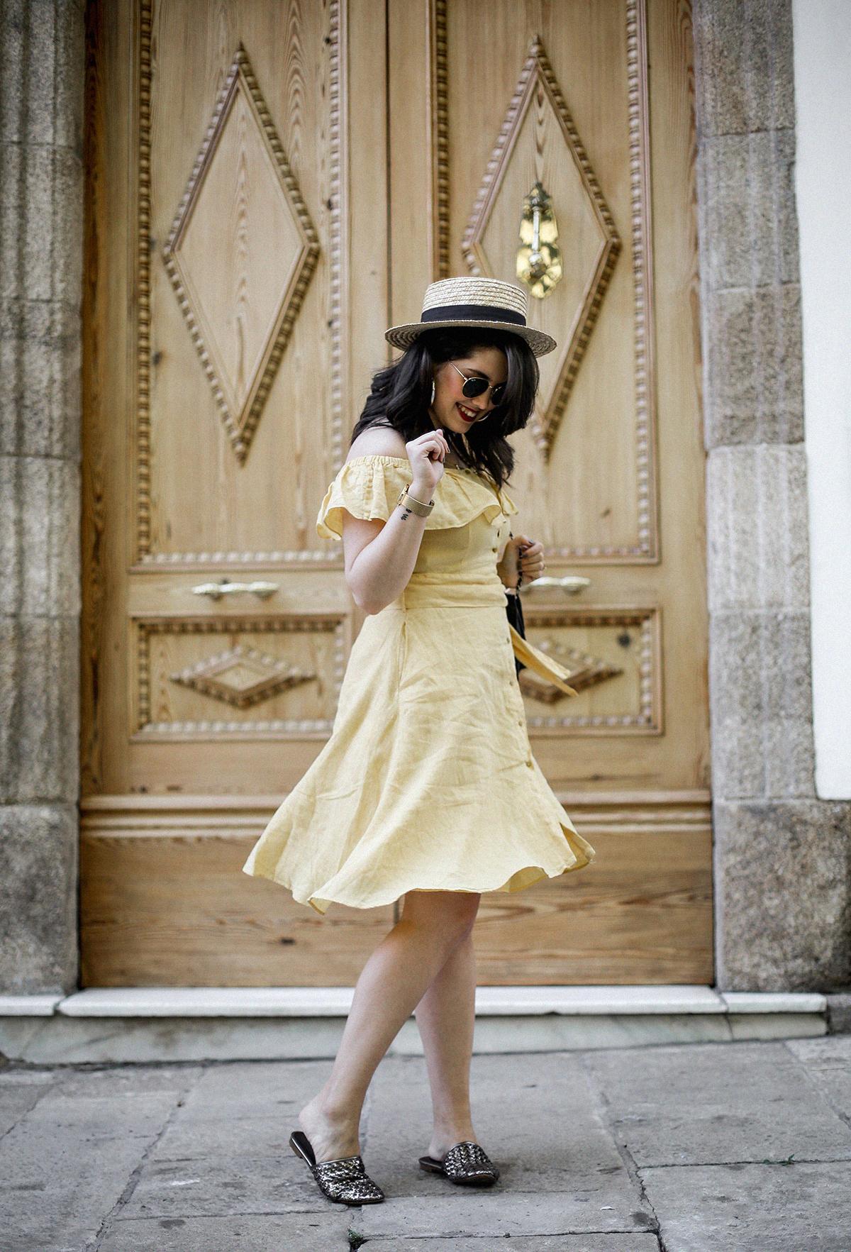 vestido-amarillo-hombros-descubiertos-zara-chanel-vintage-vestiaire-collective13